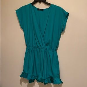 Honey punch turquoise ruffled romper size S